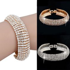 New Fashion Charm Women Crystal Rhinestone Cuff Bracelet Bangle Jewelry Gift