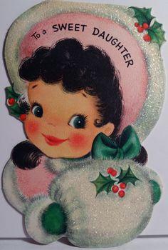 50s Hallmark Glittered Pretty Girl w Muff Vintage Die Cut Christmas Card