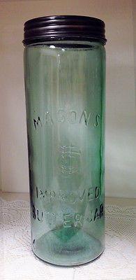Masons-Glass-Improved-Butter-Jar-Mason-Canning-Kitchen-12-25 Vintage Mason Jars, Blue Mason Jars, Vintage Bottles, Vintage Glassware, Antique Glass Bottles, Bottles And Jars, Glass Jars, Milk Glass, Ball Canning Jars