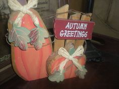 Wooden Pumpkins Table decor by Sewantique on Etsy, $8.94