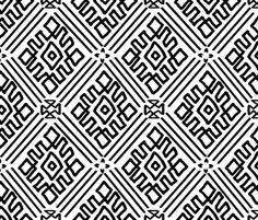 Hand Drawn White Mudcloth fabric by thestylesafari on Spoonflower - custom fabric