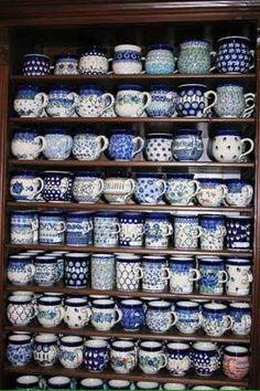 Polish Pottery Mugs for Coffee & Tea Blue And White China, Blue China, Love Blue, Keramik Vase, Polish Pottery, White Decor, Ceramic Pottery, Pottery Mugs, White Porcelain