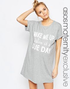 ASOS Maternity   ASOS Maternity Wake Me Up When Its Due Day Pajama Nightie at ASOS