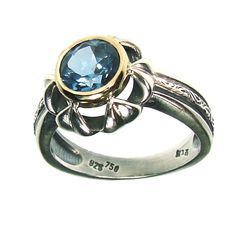Gerochristo jewelry ring gold k18 and sterling silver with blue zirgon