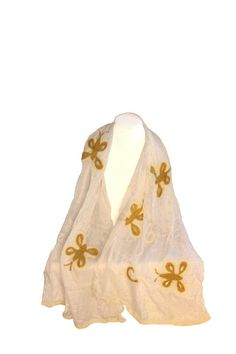 with locally-sourced wool and handspun silk, these Felted Silk Scarf is made exclusively from natural fibers. Artisans fuse the two fibers . White Butterfly, Silk Scarves, Two By Two, Aurora Sleeping Beauty, Artisan, Ivory, Wool, Disney Princess, Elegant