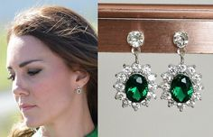 Kate Middleton Emerald Crystal Drop Earrings- e555