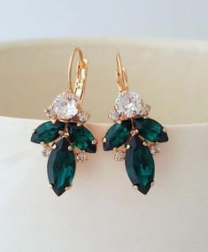 Emerald earringsBridal earringsRose gold earringsEmerald | Etsy #SilverDropEarrings