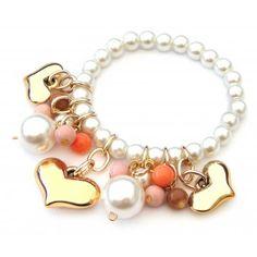 Pulsera con Perlas y Dijes de Corazón