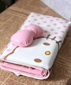 KT114 Hello Kitty Metallic pink Clutch Wallet Purse with Kisslock Coins Bag Cute
