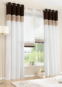 High quality embroidered window curtains for living room bedroom cortinas for windows green orange brown Home Curtains, Modern Curtains, Curtains With Blinds, Window Curtains, Curtain Panels, Cheap Curtains, Curtain Fabric, Patchwork Curtains, Striped Curtains