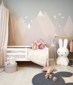 Love this pretty little girls room by Featuring the large Miffy Lamp now back in stock .
