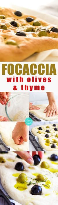 Focaccia Bread with Olives & Thyme - easy flat oven-baked Italian bread recipe, homemade delicious bread recipe, Italian food, baking | http://happyfoodstube.com