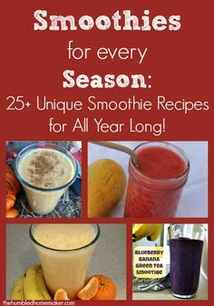 Smoothies for Every Season 25+ Unique Smoothie Recipes for All Year Long!  The Humbled Homemaker  #Smoothie #recipes