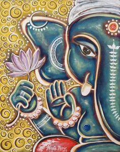 Ganesha Art Print by Angela Gollat. All prints are professionally printed, packaged, and shipped within 3 - 4 business days. Ganesha Drawing, Lord Ganesha Paintings, Spiritual Paintings, Madhubani Painting, Mandala Painting, Fabric Painting, Painting Tips, Arte Ganesha, Elefante Hindu