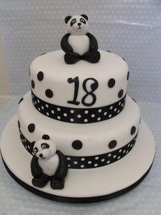 birthday panda cake - Cake by zoe (diy birthday cake for girls) Panda Bear Cake, Bolo Panda, Panda Cakes, 18th Birthday Cake For Girls, Panda Birthday Cake, 35th Birthday, Diy Birthday, Cupcake Cakes, Cupcakes