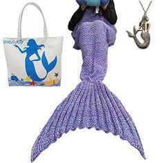 "URSKY Knitted Crochet Mermaid Tail Blanket, Sofa Living Room Snuggle Mermaid Blanket For Adult, Child, Teens (71"" x 35.5"", Round Tail Purple) - $20.70"