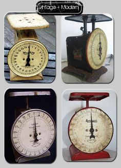 these vintage scales are fun!  Use in retro deco, country kitchens, or anywhere really.  They look great together or stand alone. Love  the top right looks like mine,
