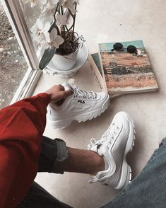 FILA Disruptor II White Trainers | Urban Outfitters | Men's | Trainers #UOmens via @frixday #UOEurope #UrbanOutfittersEU
