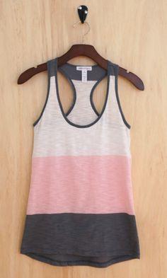 Essential Summer Color Block Tank, Pink Dust