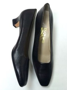 Salvatore-Ferragamo-10-N-Brown-Reptile-Lizard-Leather-Pumps-Vintage-Heels-Italy