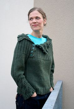 Joanie Sweater By Martina Behm - Free Knitting Pattern on Ravelry - Chunky sweater w/ asymmetric buttoned cowl & cabled cuffs