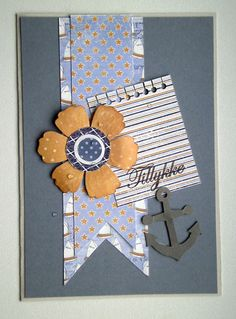 card flower and banners anchor,  Maja design Life by the sea paper collection  #majadesign - JKE