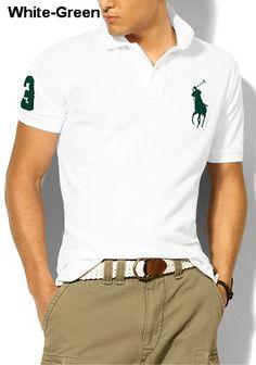 Ralph Lauren Men Custom-Fit Big Pony Polo White Green Cheap Ralph Lauren  Polo, edcf7206ebc9