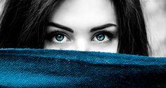 女性, 青い目, 青, 女の子, 黒と白, 色のスプラッシュ