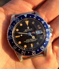 """Rolex Watches Collection : """"Bic"""" Red Master Alias Vintage Rolex GMT Master (All-Blue Insert with All-Red Hand) - Watches Topia - Watches: Best Lists, Trends & the Latest Styles Dream Watches, Luxury Watches, Cool Watches, Patek Watches, Rolex Watches For Men, Vintage Rolex, Vintage Watches, Gents Fashion, Rolex Gmt Master"""