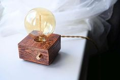 Orange Brown wooden design table lamp with Edison bulb and