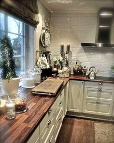 Counter to ceiling subway tile. Shiplap ceiling...I love this whole look #farmhouse #butcherblock