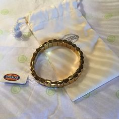 FOSSIL GOLD TONE NUGGET BRACELET STRETCH ON NWT Fossil Jewelry Bracelets