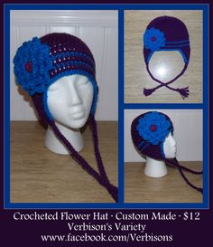 Custom Crocheted Flower Hat