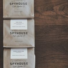 Spyhouse Coffee. MPLS. packaging/logo