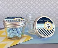 Nautical Baby Shower Small 4 oz Mason Jars