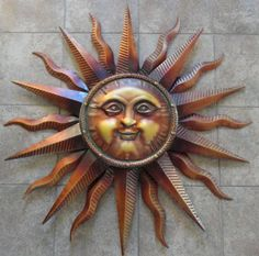 Large Copper Patina Sun Face Wall Hanging Metal Art Decor 38 Indoor Outdoor Modern