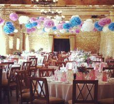 New wedding decoracion ceiling paper pom poms Ideas Wedding Cards, Our Wedding, Wedding Ideas, Wedding Inspiration, Hanging Pom Poms, Wedding Pom Poms, Funny Wedding Cake Toppers, Barn Wedding Decorations, Tissue Paper
