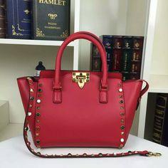Valention ROCKSTUD ROLLING MINI DOUBLE HANDLE cowhide leather  BAG 1911 size:23x13x20cmC13 whatsapp:+8615503787453