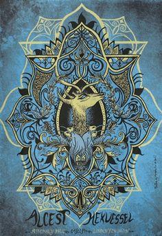 Alcest Sérigraphie deux couleurs sur papier Popset bleu, 14 exemplaires