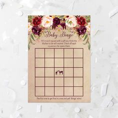 Burgundy Floral Bingo Game Printable Floral Baby Shower Game Floral Baby Shower Activity Burgundy Flowers Girl Baby Shower Ice Breaker 243 by MossAndTwigPrints on Etsy