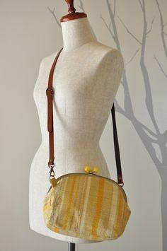 handspun bag / がま口バッグ ~黄色