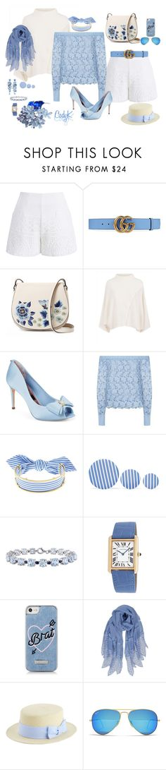 """""""Blue, White"""" by cody-k ❤ liked on Polyvore featuring Chicwish, Gucci, French Connection, Jaeger, Ted Baker, Robert Rodriguez, Monica Sordo, Balenciaga, Miadora and Cartier"""