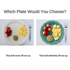 Which meal looks more filling to you? 👀 🍴 .  .  I'll share a little secret with you- that's the exact same portion of food on two different plates 😳But I bet if I served you the dish on the left you'd be wondering why I didn't give you more food, am I right? 🤓We don't just eat with our stomach. Before we even take the first bite, how the food looks can make a difference to our mind if we will feel satisfied or not. That's why plate size can be so impo