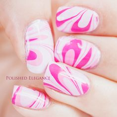 Pink water marble nail art manicure