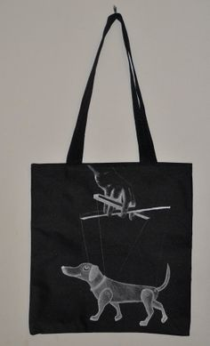 dog puppet marionette tote bag by crankosauruspress on Etsy