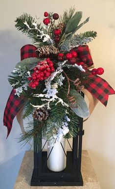 Timber Lodge Holiday - Rustic Woodland Christmas Winter Lantern Swag Tabletop Arrangement By Decorclassicflorals, On Etsy Christmas Lanterns, Christmas Swags, Woodland Christmas, Plaid Christmas, Rustic Christmas, Christmas Home, Christmas Crafts, Christmas Snowman, Decorating Lanterns For Christmas