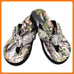 6d6db56f972ef Premium Rhinestone Camouflage Spiritual Cross Flip Flops (M) ( Partner  Link) Top