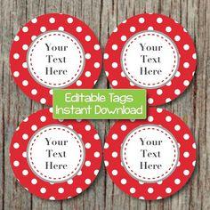 Editable Tags, Party Supplies, Printable Labels by BumpAndBeyondDesigns, $2.50