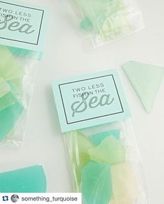 How freaking cute are these?!?! One of the few wedding favors I haven't seen yet!! Looking for DIY wedding inspiration, give @something_turquoise a follow! #repost @something_turquoise with @repostapp. ・・・ Two Less Fish In The Sea. DIY hard candy sea glass favors on the blog today - must see!  #somethingturquoisediy #seaglass #seaglasscandy #seaglassfavors #rainbowseaglass #hardcandy