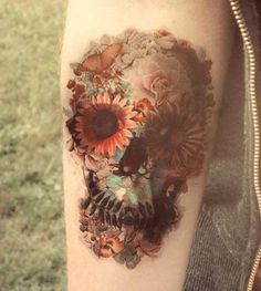 Look at all of the nice flowers…. oh wait, is that a skull? #InkedMagazine #skull #floral #tattoo #tattoo #Inked #ink #art